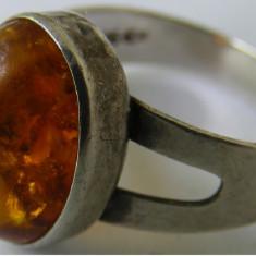 Inel vechi din argint cu chihlimbar (3) - de colectie