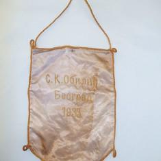 VECHI FANION RAR SÂRBESC BEOGRAD DIN PERIOADA INTERBELICĂ 1933, HANDBAL, FOTBAL? - Fanion handbal