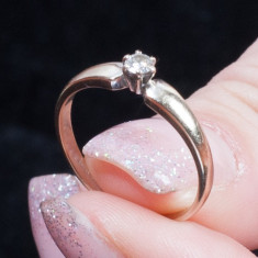 INEL DIAMANTE: Diamond Solitaire Ring 1/4 carat Round-Cut 14K White Gold, 41 - 45