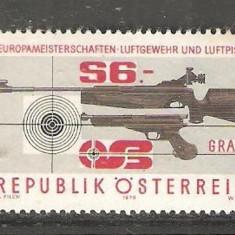 AUSTRIA 1979 - PUSCA SI PISTOL TIR SPORTIV, timbru nestampilat, AD66