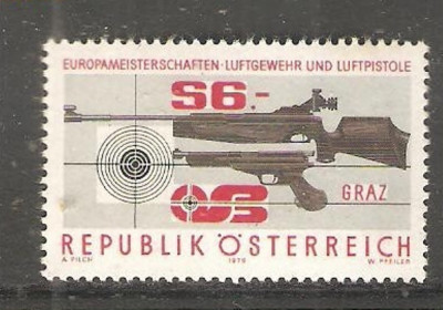 AUSTRIA 1979 - PUSCA SI PISTOL TIR SPORTIV, timbru nestampilat, AD66 foto