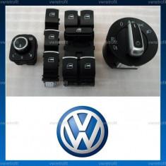 Set butoane Geamuri electrice / buton Oglinzi Electrice / Bloc Lumini, ornament crom pt VW Passat B6, CC, B7, Golf 5, Golf 6, Jetta, Eos, Tiguan, etc.