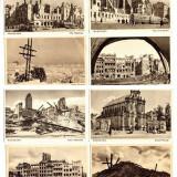 DOCUMENT WWII - VARSOVIA DUPA BOMBARDAMENTUL GERMAN - LOT DE 8 FOTO-VEDERI.
