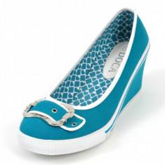 PANTOFI DIN PANZA CU TALPA INALTA - Pantof dama, Culoare: Galben, Fuchsia, Marime: 38, 40, Cu platforma