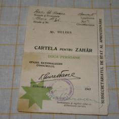 Cartela pentru zahar - doua persoane - 1941