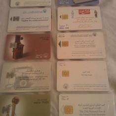 Lot 20 cartele telefonice Emiratele Arabe Unite cu SIM si fara SIM + folie de plastic + taxele postale = 50 roni