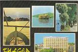 Tulcea, bratul Sulina, hotel Delta, vedere carte postala circulata 1981