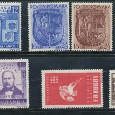 RFL ROMANIA 1940-44 lot 9 timbre tematice nestampilate fara sarniera - Timbre Romania, An: 1943