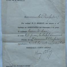 Invitatie Casa Regala Romana , semnata Henry Catargi , Maresalul Curtii , 1920