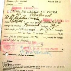 Ordin de lasare la vatra - Octombrie 1938 - Pasaport/Document, Romania 1900 - 1950