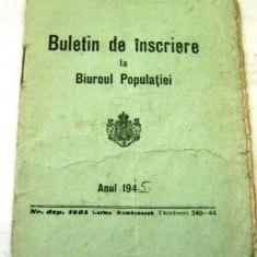 Buletin de inscriere la Biroul Populatiei - 1945, Romania 1900 - 1950, Documente