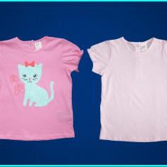 NOI, FIRMA → Set 2 tricouri, cu pisicuta, H&M → fetite | 12—18 luni | 80—86 cm, Marime: Alta, Culoare: Roz, Fete