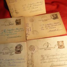 5 Carti Postale Militare 1949-1950 -pt. Ministerul de Interne