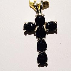 Superb pandantiv cruce aur alb 14K safire naturale 1, 93gr foarte ieftin - Pandantiv aur