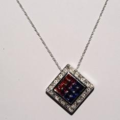 Lantisor aur alb 14K pandantiv cu diamante si safire naturale R.KLEIN 1.27CT 6.34gr - Colier aur alb