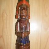 STATUIE VECHE INDIANA, STATUIETA LEMN PICTAT INDIAN, PIESA VECHE DE COLECTIE - Sculptura