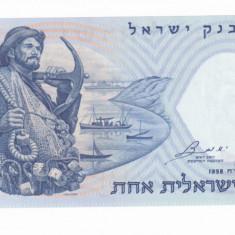 ISRAEL 1 LIRA 1958 BANCNOTA PESCARUL UNC