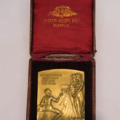 PLACHETA BRONZ EXPOZITIA GENERALA 1906 STARE EXCEPTIONALA IN CUTIA ORIGINALA - Medalii Romania