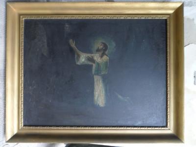 Tablou Isus, pictura veche, 111 x 88 centimetri foto