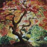 "Tablou ""Copacul"" pictura in ulei pe panza, 40x40 cm - Pictor roman, Peisaje, Miniatural"