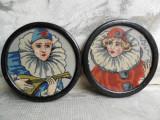 Pereche goblenuri Art Deco, arlechin, clovn, rama rotunda