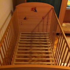 Patut pentru copii din lemn - Germania - Patut lemn pentru bebelusi, 140x70cm, Maro