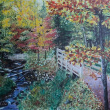 "Tablou ""Toamna"" pictura in ulei pe panza, 60x50 cm - Pictor roman, Peisaje, Altul"