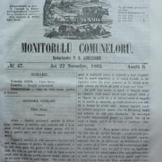Principatele Unite , Monitorul comunelor , nr . 47 , Joi 22 Noiembrie , 1862