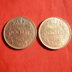 Set 2 monede 100 Lei 1943, 1944, Mihai I, cal.NC - Moneda Romania