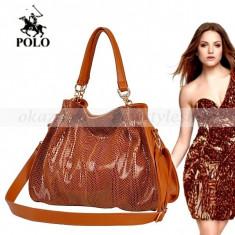 POLO - Geanta de dama de lux din piele - Geanta Dama Polo Sport, Geanta de umar, Maro, Medie