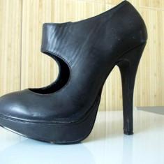 Pantofi cu toc înalt şi platformă - Pantof dama, Culoare: Negru, Marime: 36, Negru
