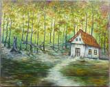 Casuta din padure, pictura semnata