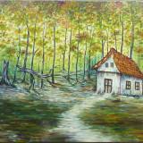 Casuta din padure, pictura semnata - Pictor roman