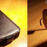 HUSA SAMSUNG GALAXY ACE PLUS S7500 FLIP negru neagra cu inchidere magnetica + folie ** LIVRARE GRATUITA !!! - Husa Telefon Samsung, Piele Ecologica