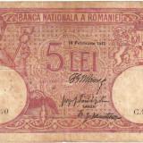 * Bancnota 5 lei 1917 - fagure - Bancnota romaneasca