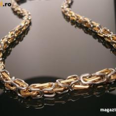 Lant inox suflat cu aur de 18k Twist 3 - Lantisor placate cu aur, Barbati