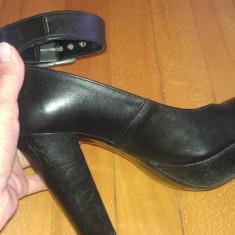 Pantofi comozi cu toc gros - Sandale dama, Culoare: Negru, Marime: 37