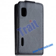 Toc piele neagra husa flip LG Optimus L5 e610 + folie protectie ecran + expediere gratuita