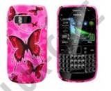 Husa silicon roz Nokia E6 Pink butterfly fluturi, Negru, Verde