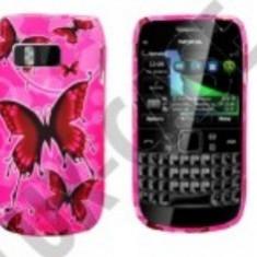 Husa silicon roz Nokia E6 Pink butterfly fluturi