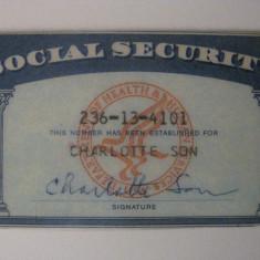 CARD AMERICAN DE SECURITATE SOCIALA EXPIRAT - Pasaport/Document