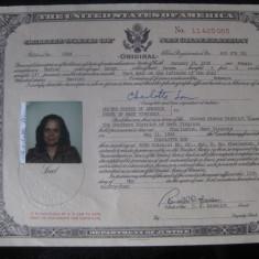 CERTIFICAT DE NATIONALITATE AMERICANA DIN 1984 - Diploma/Certificat