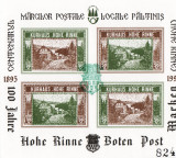 BLOC  NEDANTELAT CENTENARUL MARCI POSTALE LOCALE PALTINIS HOHE RINNE  1895-1995, Nestampilat