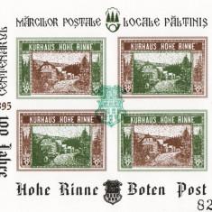 BLOC NEDANTELAT CENTENARUL MARCI POSTALE LOCALE PALTINIS HOHE RINNE 1895-1995 - Timbre Romania