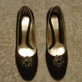 Pantofi NOI piele naturala 100% - Pantof dama, Culoare: Negru, Marime: 39, Negru