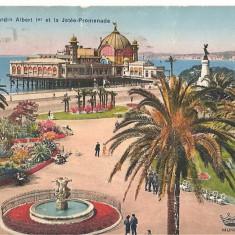 CPI (B2629) FRANTA. NICE, LE JARDIN ALBERT 1er ET LA JETEE PROMENADE, EDITURA D'ART MUNIER LE VOYER, CIRCULATA 1938, STAMPILE, Europa, Printata
