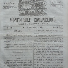 Principatele Unite , Monitorul comunelor , nr . 32 , Joi 9 August , 1862