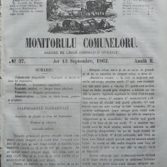 Principatele Unite , Monitorul comunelor , nr . 37 , Joi 13 Septembrie , 1862