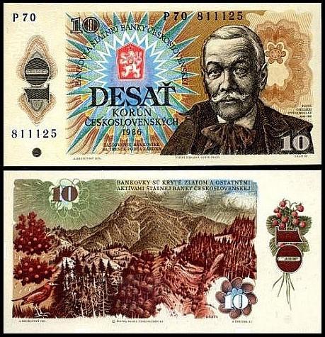 CEHOSLOVACIA 10 korona 1986 foto mare