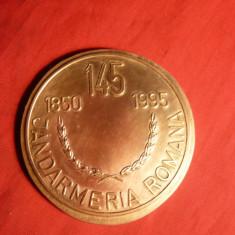 Placheta 145 Ani Jandarmeria Romana, bronz, d= 6, 5 cm - Medalii Romania